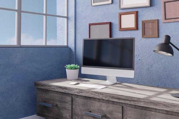 사무실 테이블에 데스크톱 컴퓨터
