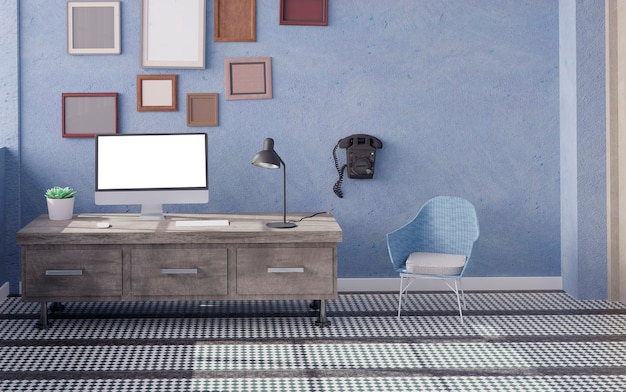 Desktop computer on the table of the office mockup 3d rendering. 3d illustration