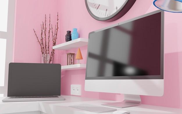 사무실 모형 3d 렌더링의 테이블에 검은 화면이있는 데스크톱 컴퓨터. 3d 그림