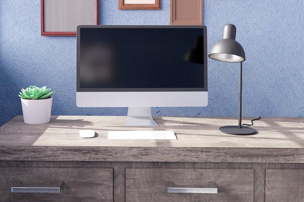 사무실 테이블에 검은 화면이있는 데스크톱 컴퓨터