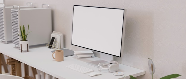 Desktop computer with empty screen in modern work space designed decors in white colour 3d