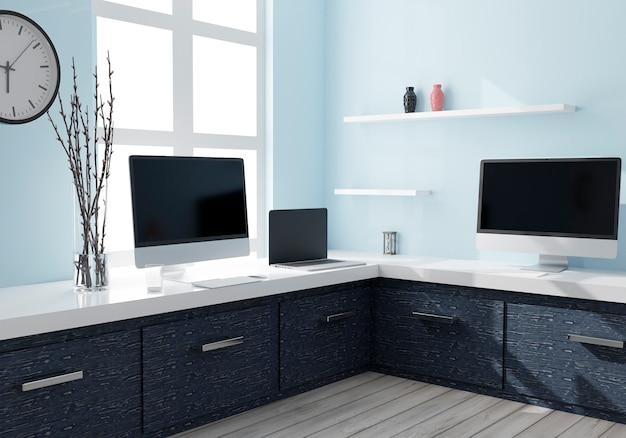 Настольные компьютеры и ноутбук для макета