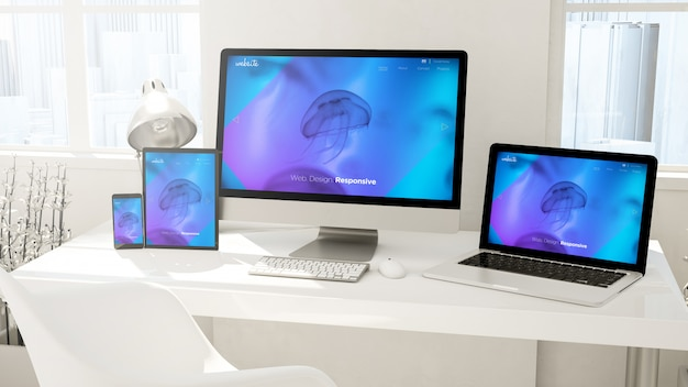 Desktop devices computer, tablet, laptop and phone website