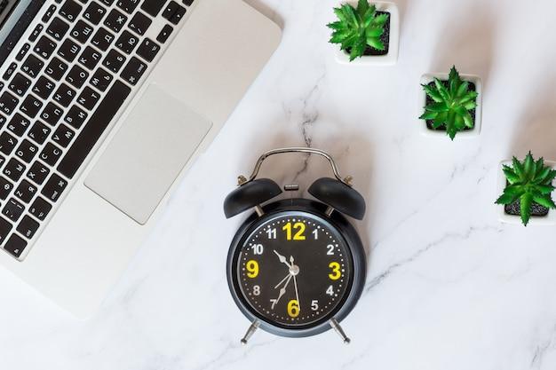 デスクトップアイテム:ラップトップ、目覚まし時計、机の上に横たわる多肉植物。上面図