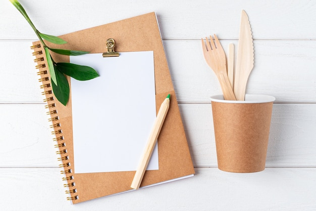 Desktop mockup notepad. zero waste, eco organic concept