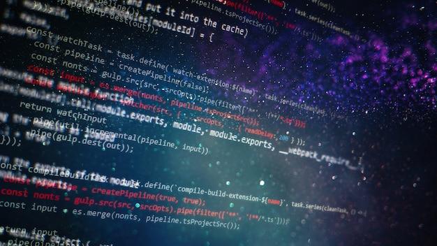 デスクトップpcモニター写真。 javascript関数、変数、オブジェクト。プロジェクトマネージャーは新しいアイデアを出します。将来の技術創造プロセス。