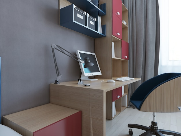 Desktop table in minimalist bedroom with wooden table with accents of red and blue colors in front of grey wall.