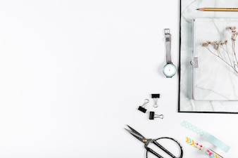 Desktop with folder watches and stationery