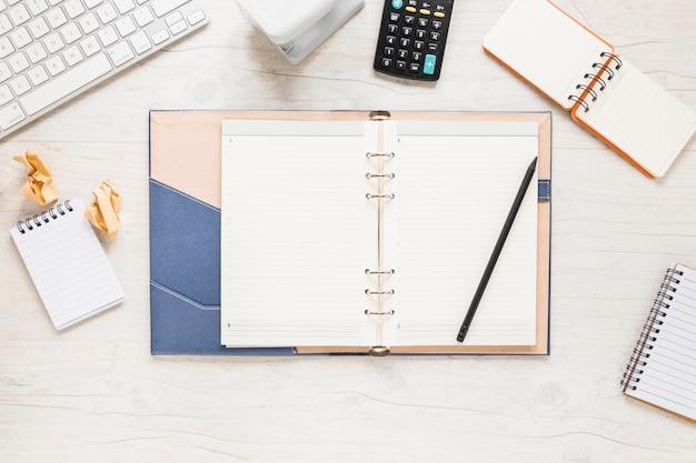 Desktop with opened organizer