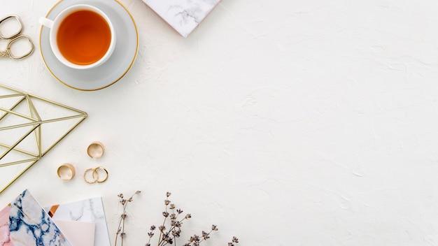 Desktop with tea cup
