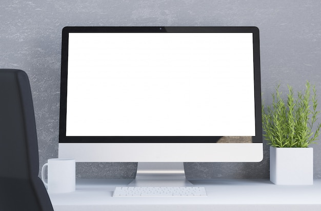 Desktop with white screen computer