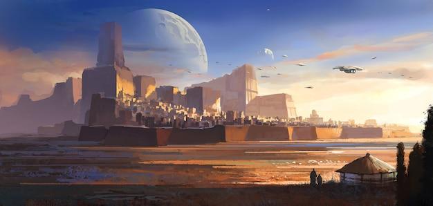 황량한 외계인, 사막 성, 공상 과학 그림, 디지털 그림, 3d 렌더링.