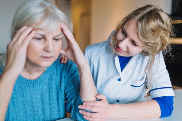 Desperate woman in nursing home