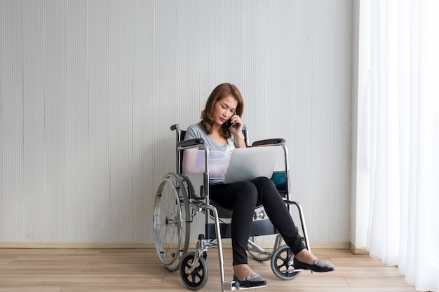 Desperate women waiting for her appointment in hospital with broke