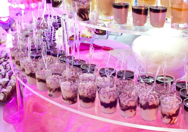 Dessert buffet during a wedding.