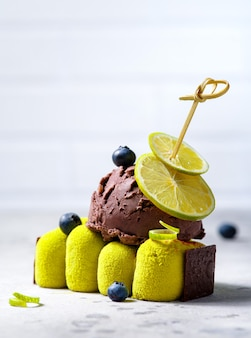 Dessert, cake with chocolate ice cream.