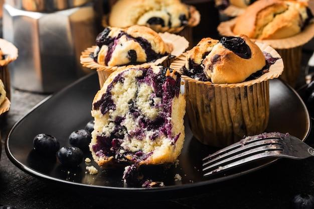 デザートフレッシュブルーベリーマフィンケーキ