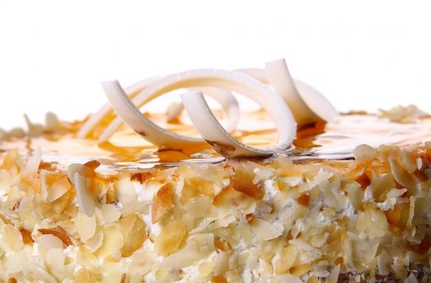 Dessert fruit cake with white chocolate