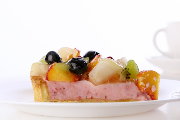 Dessert fruitcake cake with blueberry