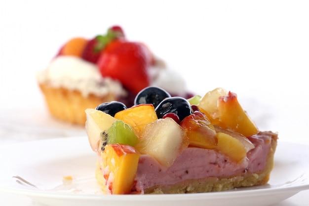 Dessert fruitcake cake with blueberry