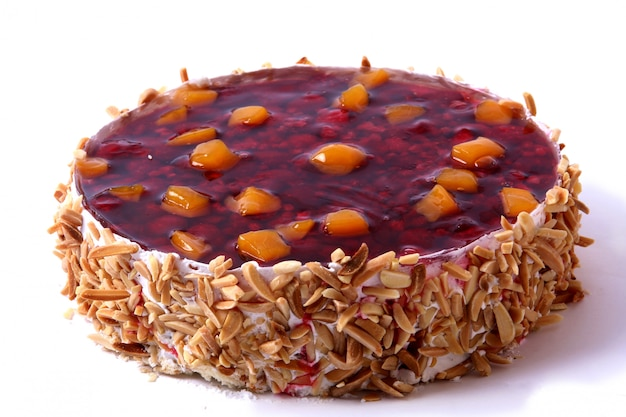 Dessert fruitcake with almonds