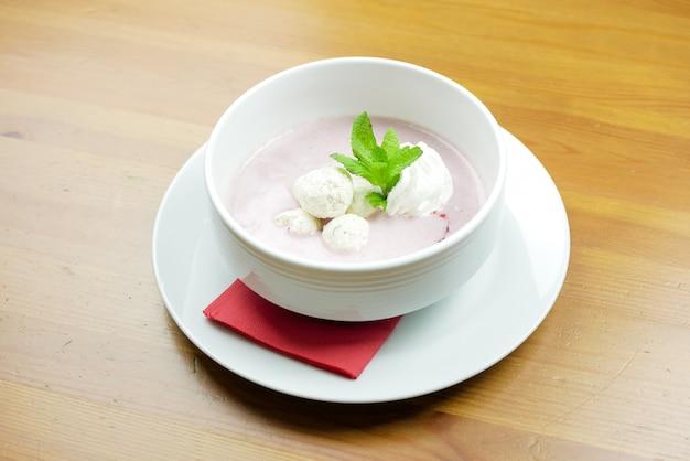 Dessert on a restaurant table