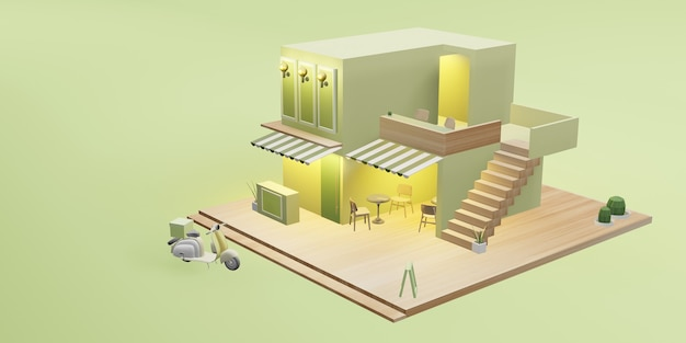 Dessert shop model coffee shop restaurant delivery service cartoon image 3d illustration