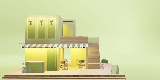 Модель десертного магазина, кафе, ресторан, служба доставки, мультяшное изображение, 3d иллюстрация