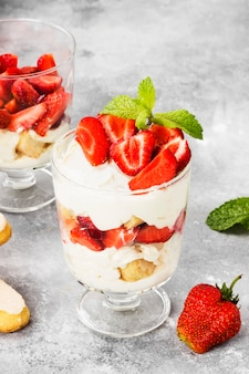 Dessert tiramisu with strawberry