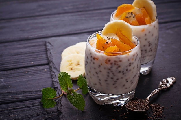 Dessert with chia seed, dried apricot and banana