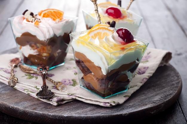 Dessert with cream in a glass