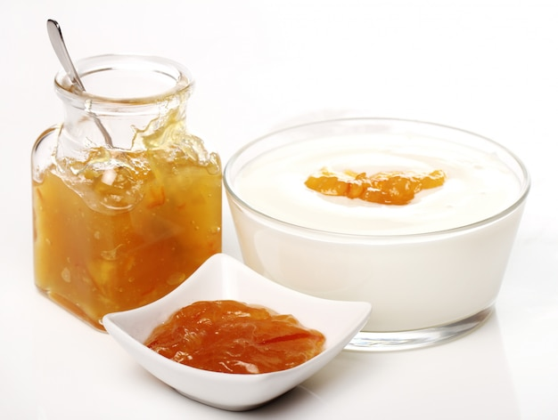 Dessert with orange jam