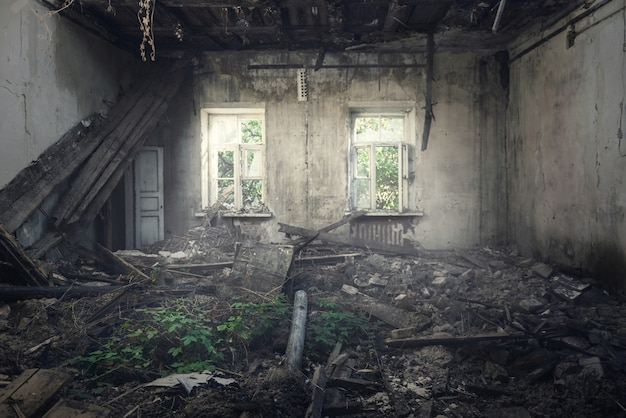 Destroyed building - inside view