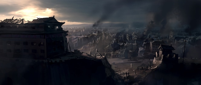 The destroyed city.