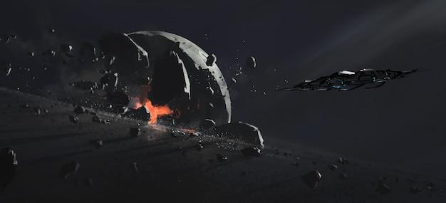 파괴 된 행성, 공상 과학 그림.