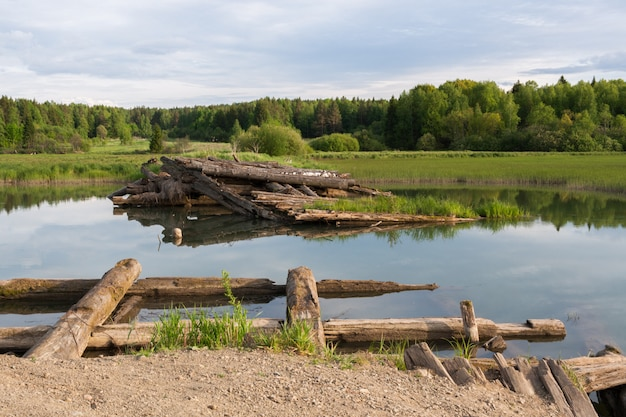 Destroyed wooden bridge across river near forest.