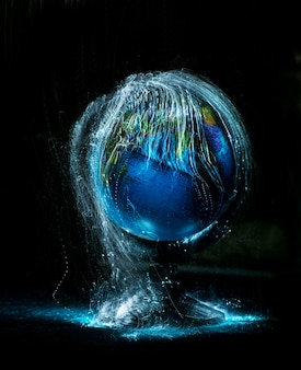 Destroying earth globe. global catastrophe concept (destroying our planet virus)