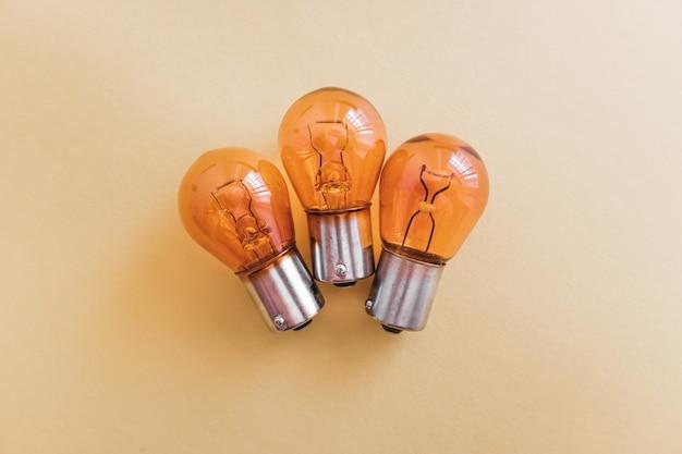 Detail of 12v orange car brake light bulbs