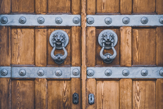 Detail of an antique wooden door with lion knockers made of cast iron