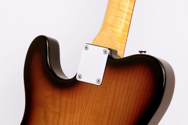 Detail back plate body electric guitar telecaster flame on white background