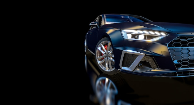 Detail of a blue sports car on black. 3d render.