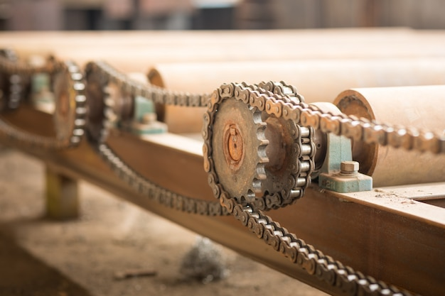 Detail of chain of roller conveyor