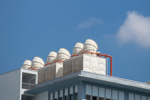 Detail of chiller. sets of cooling towers in data center building.