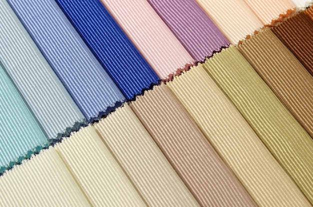 Detail of color fabric texture samples