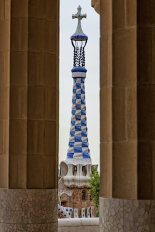 Detail of colorful mosaic work of park guell. barcelona of spain
