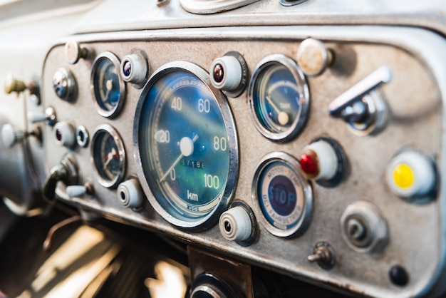 Detail of the dashboard of an old vintage truck.