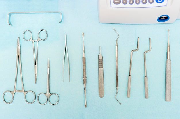 Detail of dental tools in dental clinic. dentist concept.
