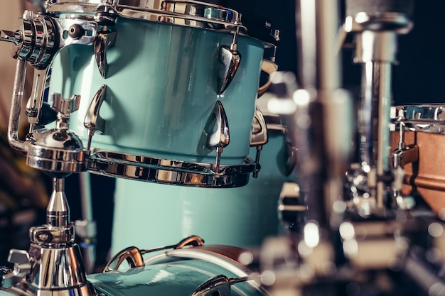 Detail of a drum kit closeup. drums on stage retro vintage picture.