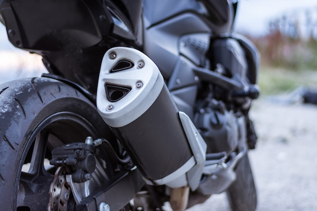 Detail of the exhaust pipe of a motorbike