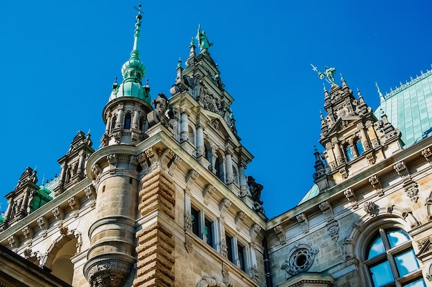 Detail of the facade of the hamburg town hall.